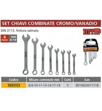 KIT ASSORTIMENTO SERIE 8 CHIAVI COMBINATE 6-19 DIN 3110 ITALY CROMO VANADIO SATI