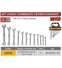 KIT ASSORTIMENTO SERIE 12 CHIAVI COMBINATE 6-22 DIN 3110 ITALY CROMO VANADIO SAT