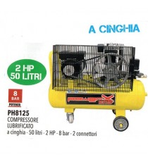 COMPRESSORE 50 LT CINGHIA OLIO ITALY 8 BAR 2 HP 3 MANOMETRI 2 CONNETTORI 170L/M
