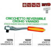 "CRICCHETTO REVERSIBILE ESTENSIBILE 1/2"" 3/8"" 1/4"" ITALY 72 DENTI CROMO VANADIO"