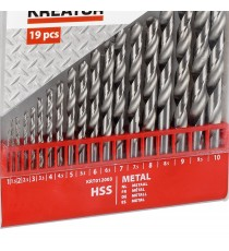 ASSORTIMENTO SERIE SET 19 PUNTE TRAPANO HSS FERRO METALLO MM 1-10
